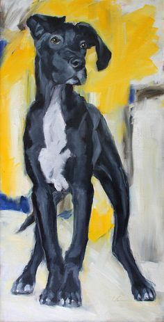 """Dane on de Kooning,"" by Clair Hartmann. Featured on Dog Art Today. #greatdane"