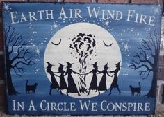 Witch Signs witchcraft Earth air wind water fire halloween decorations spells potions cats wicca Plaques Primitives by SleepyHollowPrims, $27.00 USD