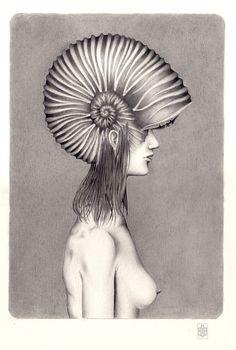 Iakovos Ouranos, Nereide I, mixed media on paper, 2014.   #art #drawing #pencil #ink #paper #iakovosouranos #iakovos #ouranos #portrait #woman #profile #mythology