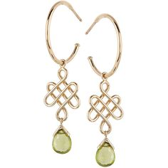 Baliense love knot earrings in yellow gold and peridot by Luis Miguel... ($1,995) ❤ liked on Polyvore featuring jewelry, earrings, gold peridot earrings, peridot jewelry, peridot jewellery, yellow gold love knot earrings and gold earrings jewelry