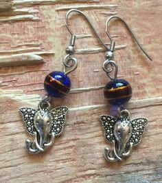 Elephant Dangle 316L Surgical Steel Painted Blue Bead Red Gold | eBay
