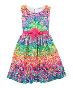 Another great find on #zulily! Rainbow Floral Sleeveless Dress - Girls by Rare Editions #zulilyfinds