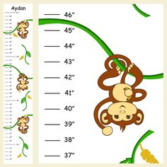 Personalized Hanging Boy Monkeys Canvas Growth by 123growwithme, $20.00