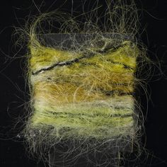 Yarn sample, yellow, cream and green space-dyed mohair