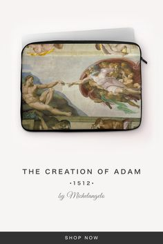 """""""The Creation of Adam"""" by Michelangelo The Creation Of Adam, Michelangelo, 7 And 7, Back To Black, Laptop Sleeves, Snug, Fabric, Accessories, Tejido"""