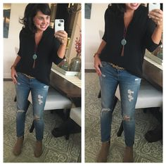 PERFECT FALL OUTFIT!  My Must Have shirt, my new favorite necklace, distressed jeans, leopard belt, and booties!
