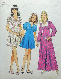 Simplicity 6186  Girls / Tweens Cute 1970s Vintage by Clutterina