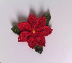 Poinsettias Crochet / Poinsettias 275 / red flower / by ElenaGift