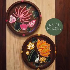 Inspired And Love For Lotus These Wooden Wall Plates Are Hand Painted It Can