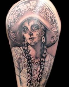Awesome santa muerte girl tattoo in mexican style - Tattooimages.biz