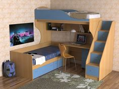 Many families have a limited area in their houses and they have two or more children and cannot provide one room for each kid, therefor I'm going to share with you this amazing ideas of kids bunk beds with desk that will help you to solve this problem, Childrens Bunk Beds, Kids Bunk Beds, Interior Modern, Home Interior Design, Boys Room Decor, Bedroom Decor, Bunk Bed With Desk, Kids Bedroom Designs, Bedroom Floor Plans