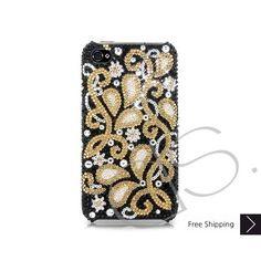 Gold Floral Bling Swarovski Crystal iPhone 5 Cases