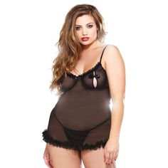 Fantasy Lingerie Plus-size Dot Mesh Split Cup Chemise and Matching Thong