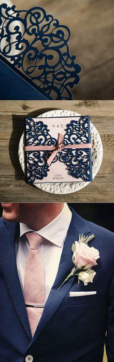 Ever the most blassic blush and navy wedding colors and invitation #weddinginvitations#ElegantWeddingInvites
