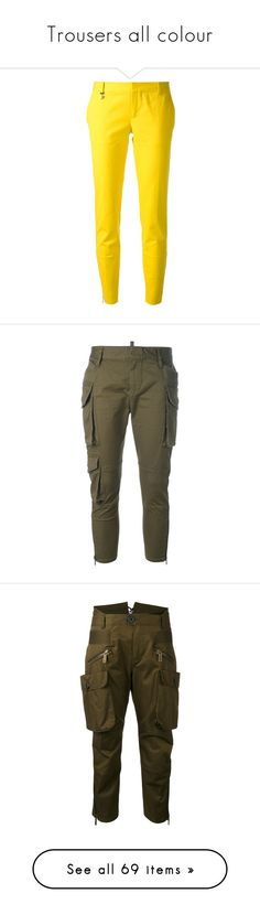 """Trousers all colour"" by killasuki ❤ liked on Polyvore featuring pants, capris, bottoms, jeans, pantalones, calças, yellow pants, tapered fit pants, cropped pants and taper cut pants"