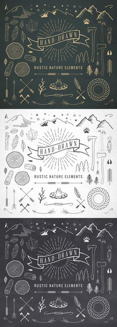 Hand-Drawn Rustic Nature Elements. Wedding Fonts