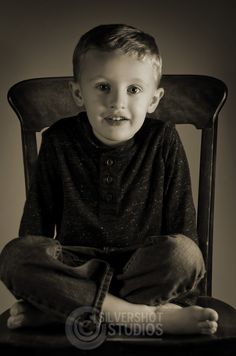 Boy Chair Sitting Black and White
