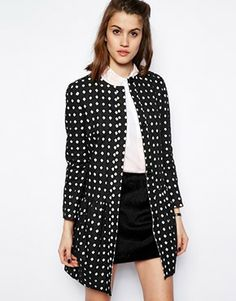 ASOS Coat with Dropped Waist & Cutwork