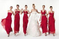 Vestido de dama de honor rojo