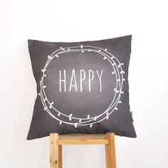 Happy, Modern Pillows, Decorative Chalkboard Pillow, Teen Pillow, Nursery Pillow, Throw Pillow