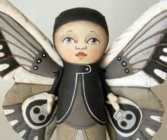 Fairy Moth Butterfly Original Folk Art Doll by cartbeforethehorse, $140.00