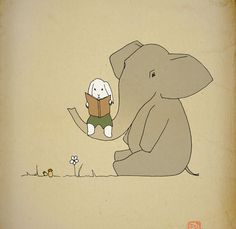 Art print poster 12x16 Kids room elephant , baby wall art, Elephant nursery decorations, Elephant love bunny drawing print for sale 12 x 16. $40.00, via Etsy.
