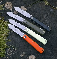 """Farm & Field Lockback Pocket Knife  With a 3.75"""" blade made of 1095 carbon steel, the slim Lockback pocket knife from Farm & Field is a very versatile piece of EDC and comes in a variety of cool colors with Delrin/acrylic/Micarta handles: orange, matte black, green, & glow-in-the-dark. Made In the USA."""