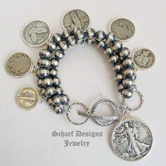 Schaef Designs Old Coin & Navajo Pearl 3 Strand Charm Bracelet Coin Jewelry, Wire Jewelry, John Wind Jewelry, Silver Necklaces, Silver Jewelry, Jewelry Accessories, Jewelry Design, Southwest Jewelry, Family Jewels