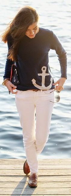 Two Bees Cashmere Navy Anchor Print Sweater by Classy Girls Wear Pearls