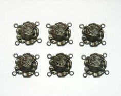 6 Gunmetal Rose Connectors