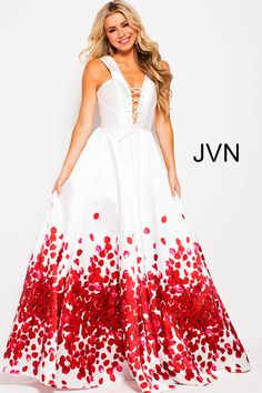 JVN by Jovani JVN59187. Jovani off white red print sleeveless plunging neck  prom ... a6fac09d6