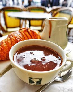 Hot Chocolate and Croissant from Les Deux Magots in Paris