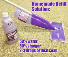 Make your own solution by combining half water and half vinegar, along with 2-3 drops of dish soap. Put the solution into the container.