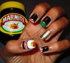 Marmite Nails - mad but fun Marmite, French Tip Nails, Healthy Mind, Shellac, Brown And Grey, Tea Party, Nail Designs, Nail Polish, Peach