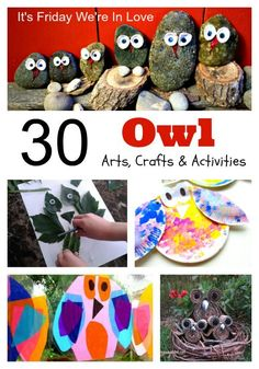 30 awesome arts, crafts and activity ideas for kids featuring the autumn owl. Perfect for kids of all ages to enjoy.