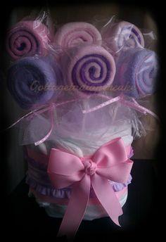 Gotta get a Diapercake - Pink and purple lollipop cupcake boutique