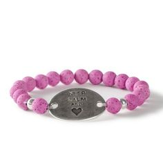 Keep calm and Love! Motto-Armband mit Polaris gala sweet Perlen und Bracelet Bars. Alle Materialien sind bei Glücksfieber erhältlich.