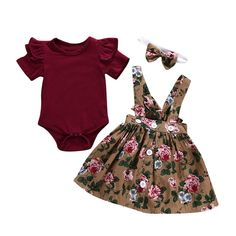 a45ddc15d366 haoricu 3Pcs Baby Clothes Outfits Toddler Girls Kids Overalls Skirt Headband  Romper Dress Set --