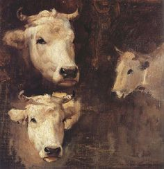 Oxen by Nicolae Grigorescu (Romanian, Muse Kunst, Gustave Courbet, How To Make Drawing, Cow Painting, Muse Art, Animal Paintings, Great Artists, Romania, Modernism