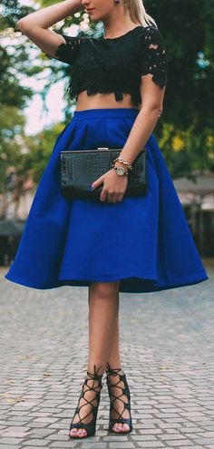 Shop Blue Flare Pleated Midi Skirt online. SheIn offers Blue Flare ...
