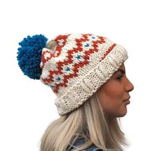 Knit hat, Fair isle hat, rolled brim hat, extra chunky woman hat, wool hat, winter accessory, warm hat with big pom pom