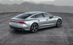 Download wallpapers Audi A7 Sportback, 2018, 4k, rear view, LED optics, new A7, luxury cars, silver, Audi