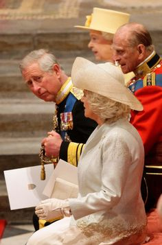 The Queen, The Prince of Wales, The Duke of Edinburgh and The Duchess of Cornwall wait for the service to begin at Westminster Abbey.