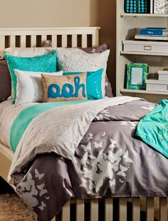 """Grey + aqua bedding. (""""Believe you can fly"""" duvet set from #dormify $79)"""