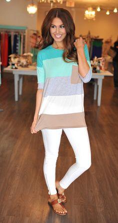 Dottie Couture Boutique - Color Block Tunic- Teal, $36.00 (http://www.dottiecouture.com/color-block-tunic-teal/)