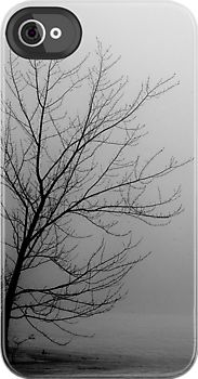 iPhone case of a tree in fog