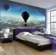 """Fototapete, Vlies Fototapete """"Nachtexpedition"""". Die Hauptmotiven der Fototapete: Himmel, Sterne, Flug, Heißluftballon, Blau. Perfekt für alle Träumer!"""