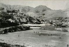 Lyttelton's old sports field Christchurch New Zealand, Paris Skyline, Lost, Places, Sports, Travel, Hs Sports, Viajes, Destinations