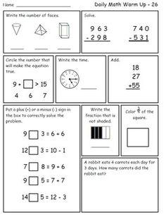 Daily Math Warm Up Freebie for Second Grade-- free morning math for grade Math Classroom, Kindergarten Math, Teaching Math, Kids Math, Math 2, Future Classroom, Teaching Ideas, Classroom Ideas, Mental Maths Worksheets