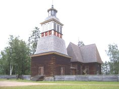 Petäjävesi Old Church, Finland, from south. Wooden church 1763–64, bell tower 1821. UNESCO World heritage site.